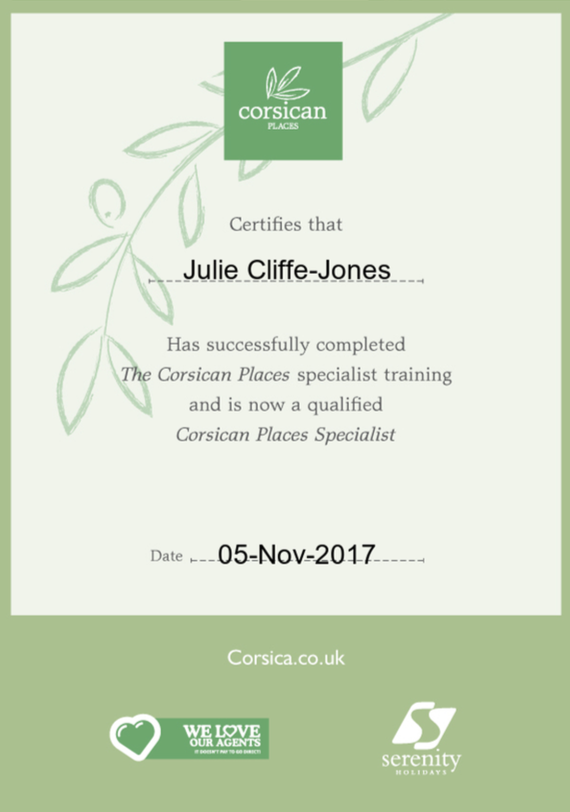 Corsican Places Certificate