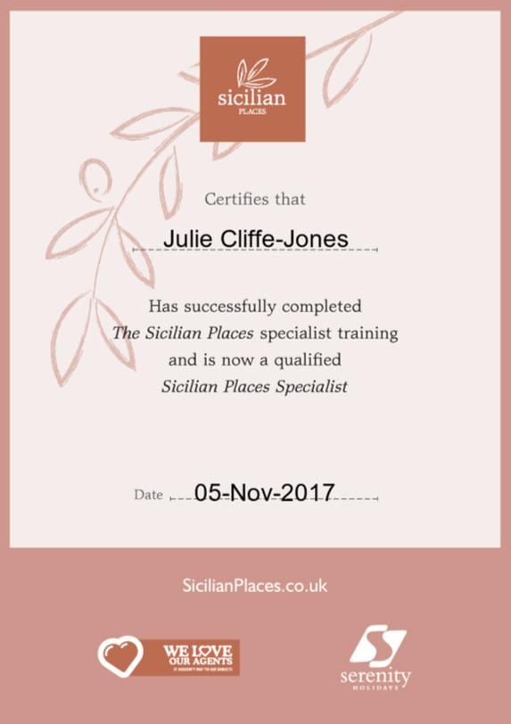 Sicilian Places Certificate