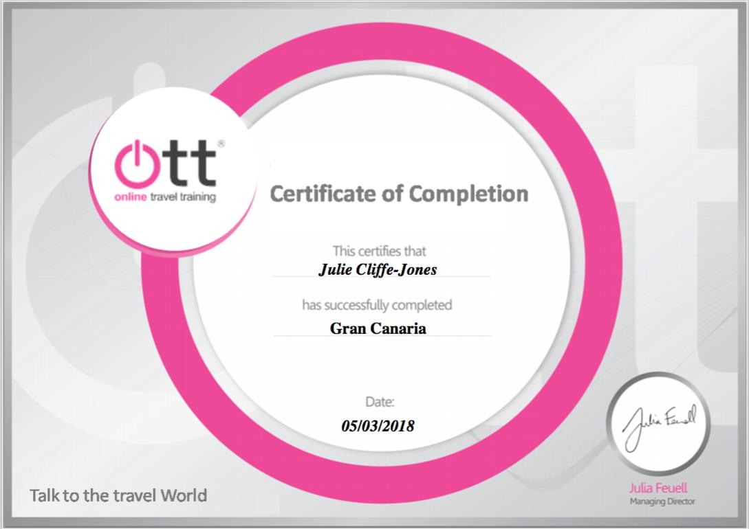 Gran Canaria Certificate