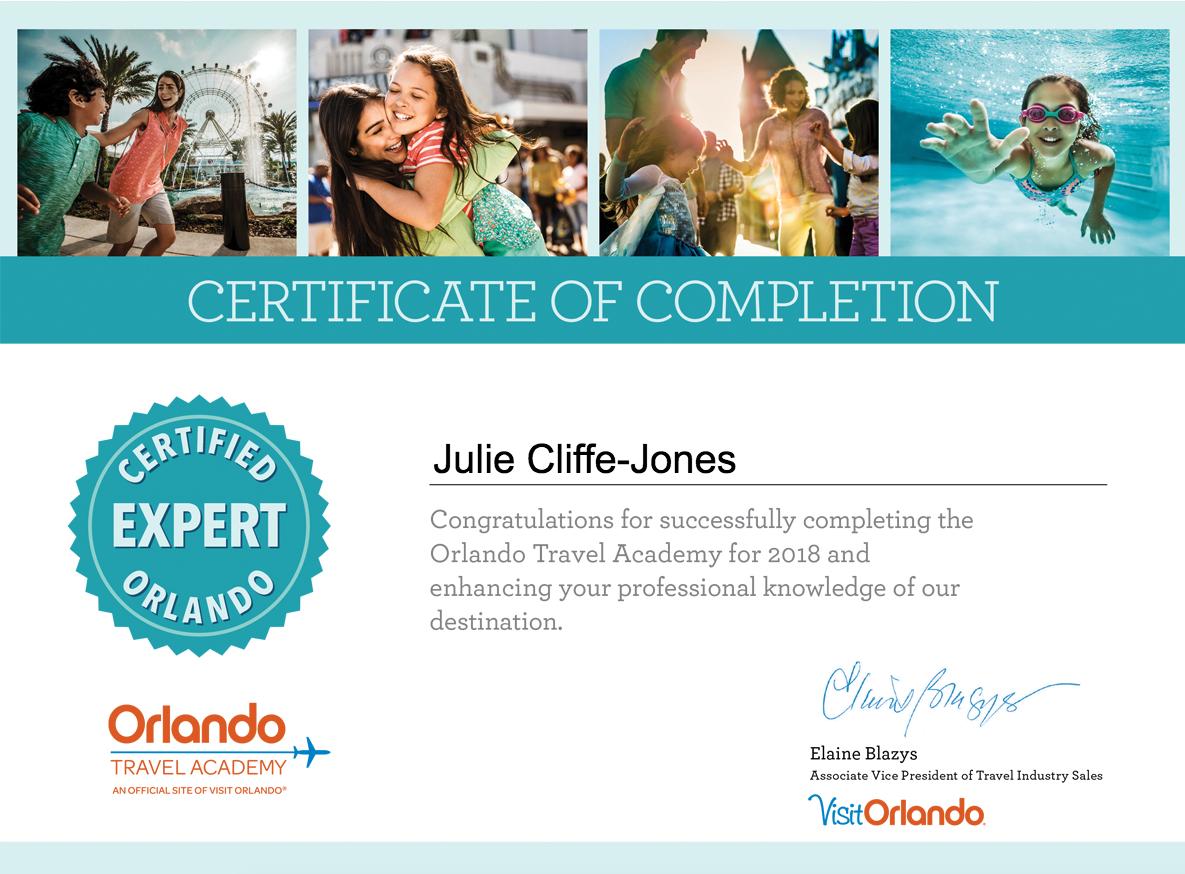 VisitOrlando Expert Certificate